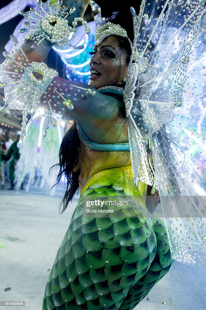 A dancer of Academicos Do Grande Rio dressed up as a maermaid performs during the parade featured on the petroleum industry of Rio de Janeiro, at Sambodrome Marques de Sapucai on February 12, 2013 in Rio de Janeiro, Brazil.