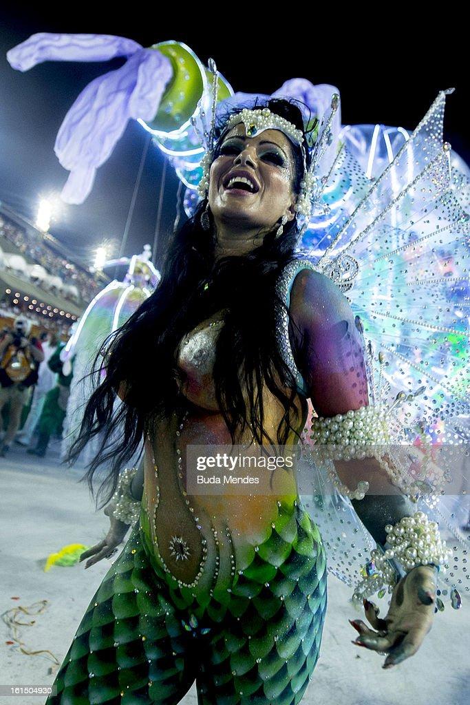 A dancer of Academicos Do Grande Rio dressed up as a maermaid performs during the parade featured on the petroleum industry of Rio de Janeiro, at Sambodrome Marques de Sapucai on February 12, 2013 in Rio de Janeiro, Brazil.