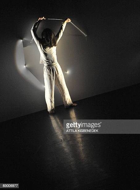 Dancer of JapaneseFrench Compagnie Oki Haiku Dan Keisuke Kana performs his dance in blackandwhite on the stage of the ''TRAFO' contemporary cultural...
