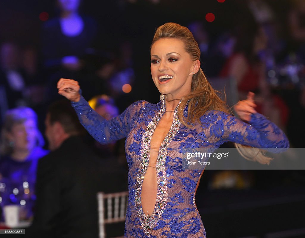 Dancer <a gi-track='captionPersonalityLinkClicked' href=/galleries/search?phrase=Ola+Jordan&family=editorial&specificpeople=4958189 ng-click='$event.stopPropagation()'>Ola Jordan</a> performs a ballroom dancing routine as part of Dancing with United, in aid of the Manchester United Foundation, at Old Trafford on March 7, 2013 in Manchester, England.