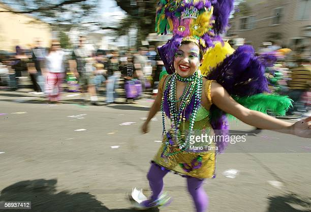 A dancer participates in the Tucks parade during Mardi Gras festivities February 25 2006 in New Orleans Louisiana New Orleans is celebrating its...