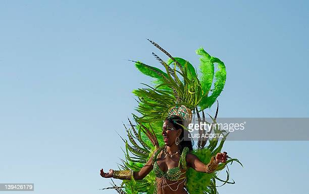 A dancer perfoms during the third day of carnival parade in Barranquilla Colombia on February 20 2012 Barranquilla's carnival a tradition cretaed by...