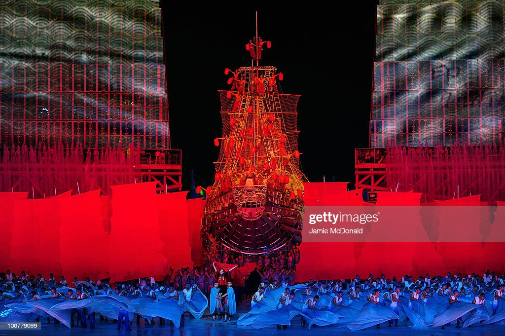 Dancer perform on a ship during the Opening Ceremony for the 16th Asian Games Guangzhou 2010 at Haixinsha Square on November 12, 2010 in Guangzhou, China.