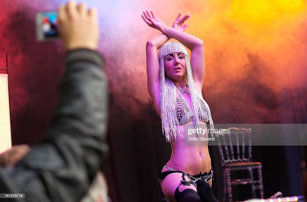 A dancer performs at Eropolis erotic fair at Acropolis on February 10, 2013 in Nice, France.