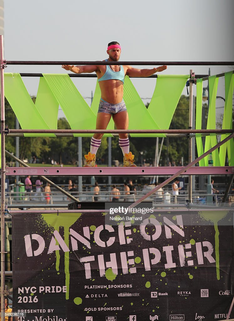 A dancer performs at New York City Pride 2016 - Dance On The Pier on June 26, 2016 in New York City.