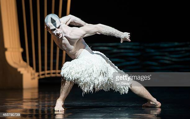 A dancer performs during a photocall for Matthew Bourne's 'Swan Lake' at Sadler's Wells Theatre on December 5 2013 in London England