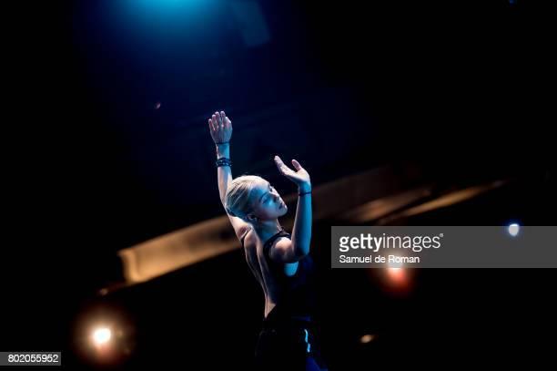 A dancer performs during a rehearsal for 'El lago de Los Cisnes' on June 27 2017 in Madrid Spain