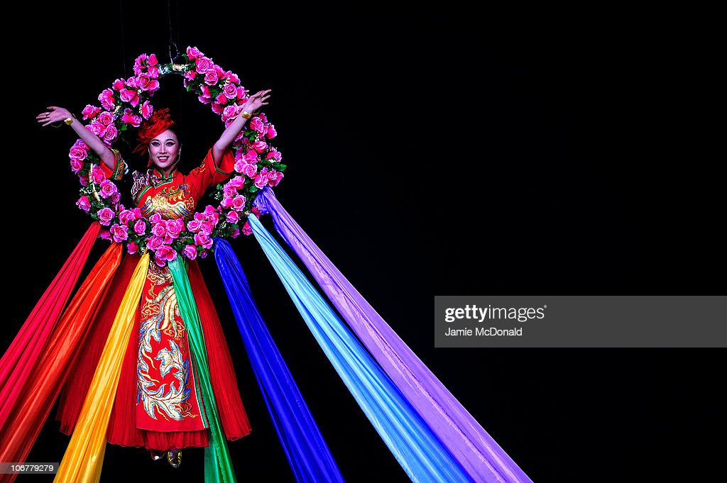 A dancer performs during the Opening Ceremony for the 16th Asian Games Guangzhou 2010 at Haixinsha Square on November 12, 2010 in Guangzhou, China.