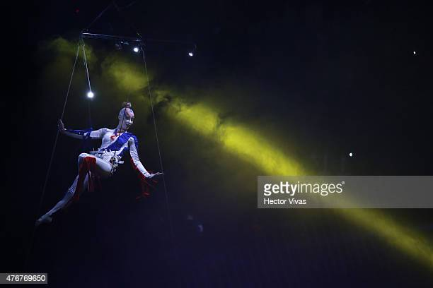 A dancer performs during the Opening Ceremony of the 2015 Copa America Chile prior to the Group A match between Chile and Ecuador at Nacional Stadium...