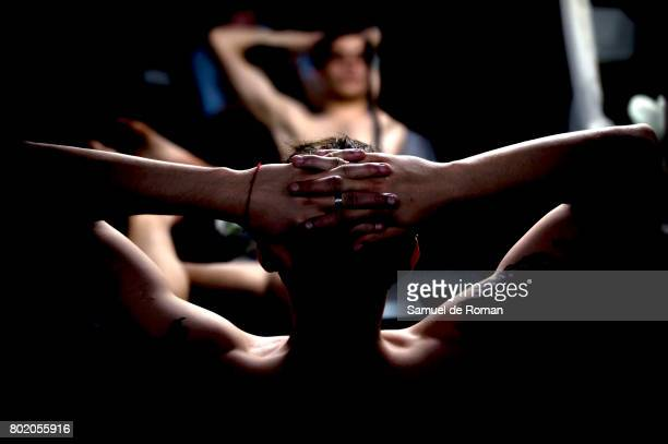 A dancer prepares for a rehearsal for 'El lago de Los Cisnes' on June 27 2017 in Madrid Spain