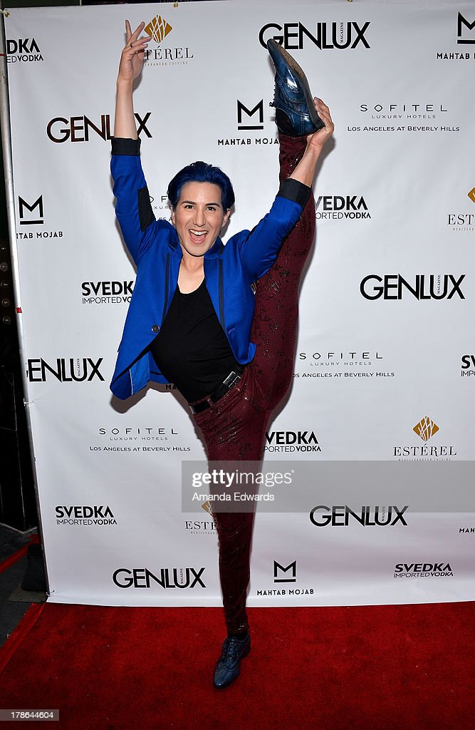 Dancer Ricky Rebel arrives at the Genlux Magazine release party with Erika Christensen at Sofitel Hotel on August 29, 2013 in Los Angeles, California.