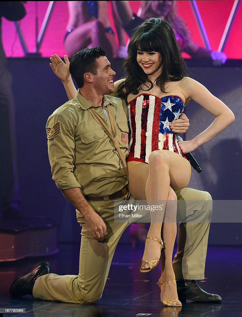 Dancer Ryan Kelsey (L) and model <a gi-track='captionPersonalityLinkClicked' href=/galleries/search?phrase=Claire+Sinclair&family=editorial&specificpeople=6960124 ng-click='$event.stopPropagation()'>Claire Sinclair</a> perform during the premiere of the show 'Pin Up' at the Stratosphere Casino Hotel on April 29, 2013 in Las Vegas, Nevada.