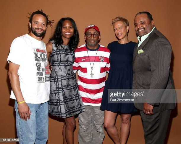 Dancer Savion Glover founder of the Black Film Festival Nicole Friday director Spike Lee Tonya Lewis Lee and journalist Roland Martin attend the...