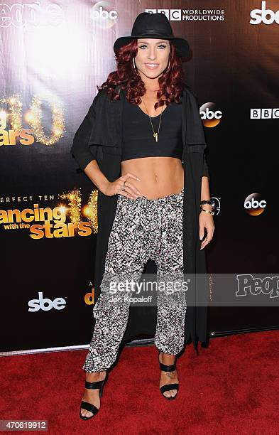 Dancer Sharna Burgess arrives at the 10th Anniversary Of 'Dancing With The Stars' Party at Greystone Manor on April 21 2015 in West Hollywood...