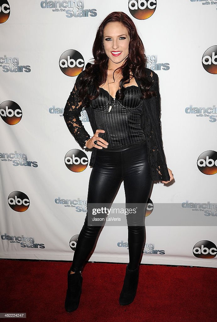 Dancer <a gi-track='captionPersonalityLinkClicked' href=/galleries/search?phrase=Sharna+Burgess&family=editorial&specificpeople=6409208 ng-click='$event.stopPropagation()'>Sharna Burgess</a> attends the 'Dancing With The Stars' wrap party at Sofitel Hotel on November 26, 2013 in Los Angeles, California.