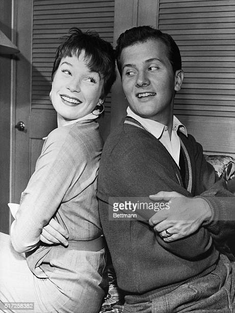Dancer Shirley MacLaine and Pat Boone who will appear together on the Chevy Show TV program