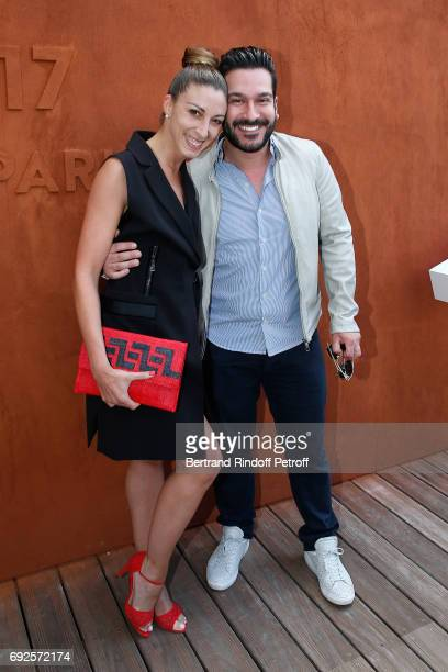 Dancer Silvia Notargiacomo and her companion Chef Denny Imbroisi attend the 2017 French Tennis Open Day Height at Roland Garros on June 4 2017 in...