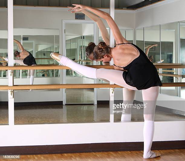 Dancer streching at the barre