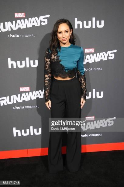 Dancer / TV Personality Cheryl Burke arrives at the premiere of Hulu's 'Marvel's Runaways' at the Regency Bruin Theatre on November 16 2017 in Los...