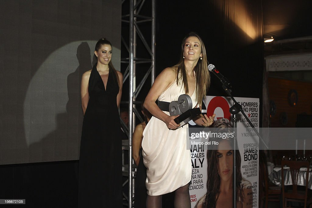 Dancer Vania Masias recieves an award during the awards ceremony GQ Men of the Year 2012 at La Huaca Pucllana on November 23, 2012 in Lima, Peru.