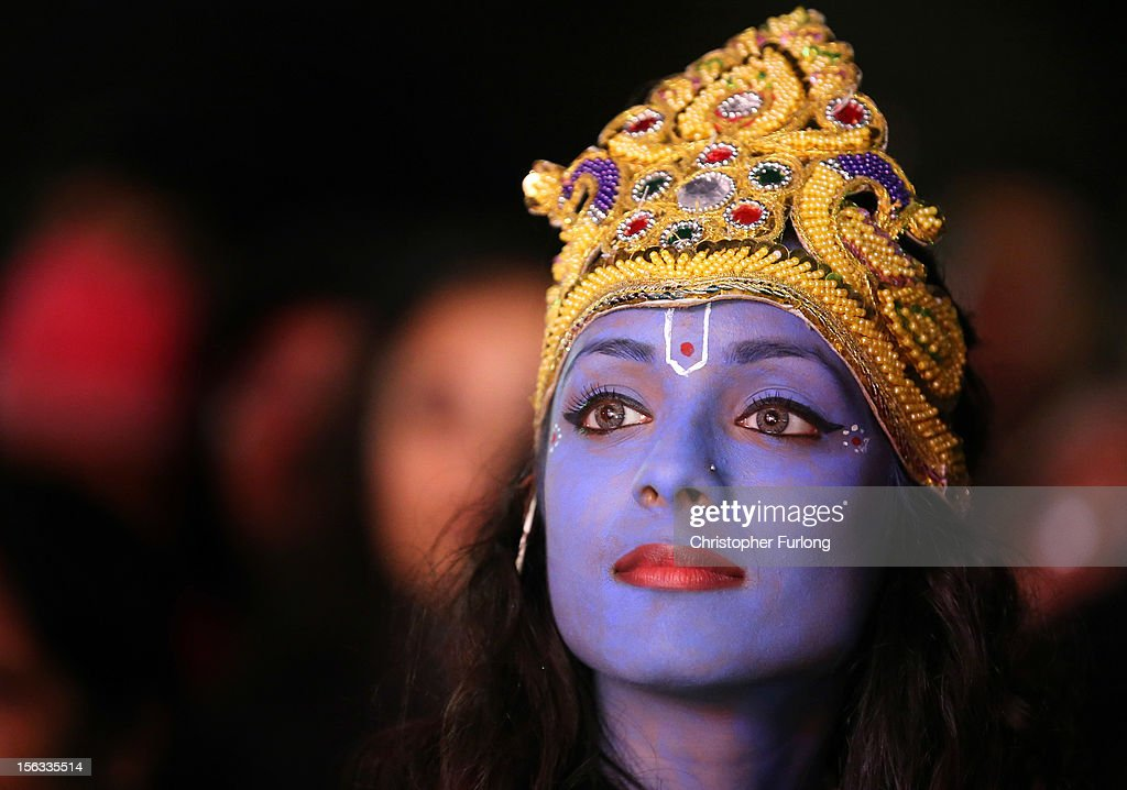 Dancer Vimi Solanki waits to perform on stage as Lord Krishna during the Hindu festival of Diwali on November 13, 2012 in Leicester, United Kingdom. Up to 35,000 people attended the Diwali festival of light in Leicester's Golden Mile in the heart of the city's asian community. The festival is an opportunity for Hindus to honour Lakshmi, the goddess of wealth and other gods. Leicester's celebrations are one of the biggest in the world outside India. Sikhs and Jains also celebrate Diwali.