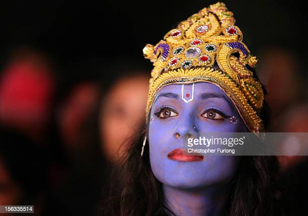Dancer Vimi Solanki waits to perform on stage as Lord Krishna during the Hindu festival of Diwali on November 13 2012 in Leicester United Kingdom Up...