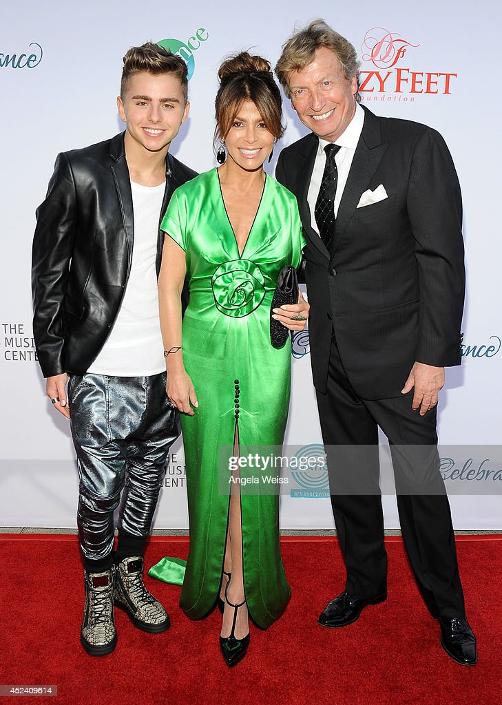 Dancer/actor Michael Dameski, choreographer <a gi-track='captionPersonalityLinkClicked' href=/galleries/search?phrase=Paula+Abdul&family=editorial&specificpeople=202119 ng-click='$event.stopPropagation()'>Paula Abdul</a> and Co-president <a gi-track='captionPersonalityLinkClicked' href=/galleries/search?phrase=Nigel+Lythgoe&family=editorial&specificpeople=736462 ng-click='$event.stopPropagation()'>Nigel Lythgoe</a> attend Dizzy Feet Foundation's Celebration Of Dance Gala at The Music Center on July 19, 2014 in Los Angeles, California.