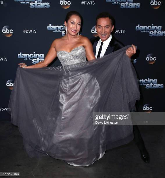 Dancer/competition judge Carrie Ann Inaba and competition judge Bruno Tonioli pose at 'Dancing with the Stars' season 25 at CBS Televison City on...