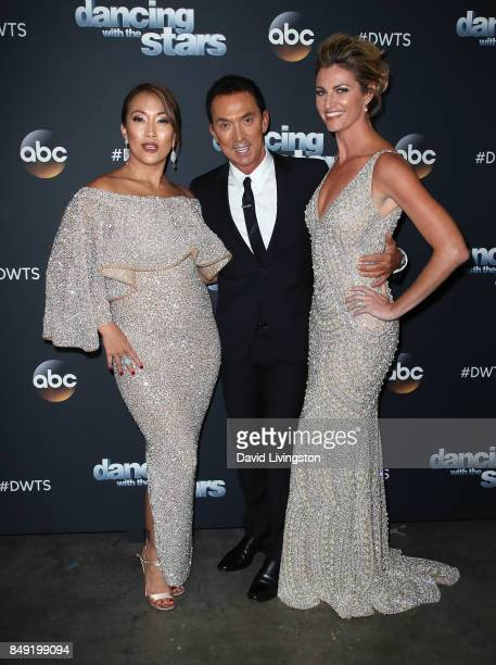 Dancer/competition judge Carrie Ann Inaba competition judge Bruno Tonioli and TV personality Erin Andrews attend 'Dancing with the Stars' season 25...