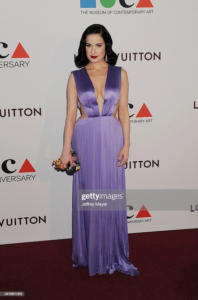 Dancer/model/actress <a gi-track='captionPersonalityLinkClicked' href=/galleries/search?phrase=Dita+Von+Teese&family=editorial&specificpeople=210578 ng-click='$event.stopPropagation()'>Dita Von Teese</a> arrives at the MOCA 35th Anniversary Gala Celebration at The Geffen Contemporary at MOCA on March 29, 2014 in Los Angeles, California.