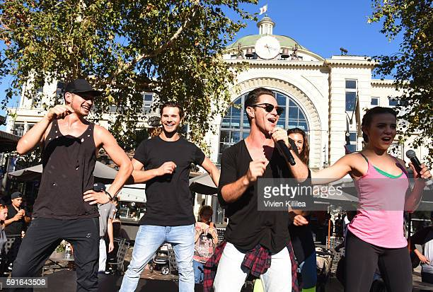 Dancers Alan Bersten Gleb Savchenko Artem Chigvintsev and Brittany Cherry attend The Grove Hosts Dancing With The Stars Dance Lab With pros Val...