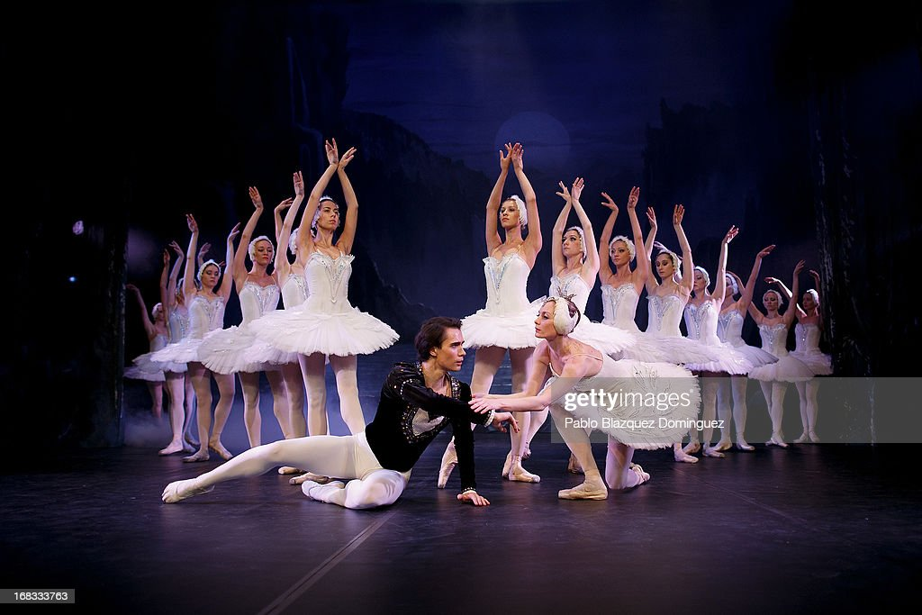 Dancers Alexander Butrimovich and Nataliya Kungurtseva of the Classical Russian Ballet perform during a rehearsal of 'Swan Lake' at Nuevo Apolo Theatre on May 8, 2013 in Madrid, Spain.