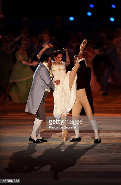 Dancers Alexander Petukhov Svetlana Zakharova and Vladimir Vasilyev perform during the Opening Ceremony of the Sochi 2014 Winter Olympics at Fisht...