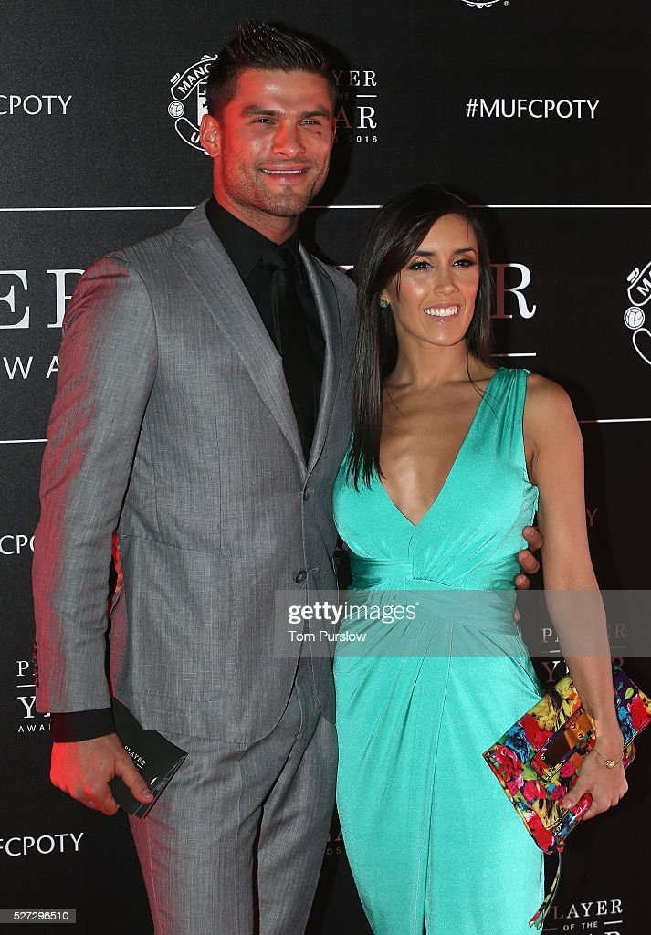 Dancers Aljaz Skorjanec and Janette Manrara from Strictly Come Dancing arrive at the club's annual Player of the Year awards at Old Trafford on May 2, 2016 in Manchester, England.
