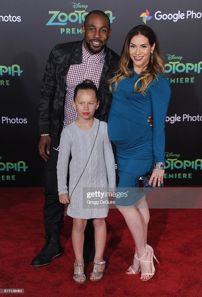 Dancers Allison Holker Stephen 'tWitch' Boss and daughter Weslie Fowler arrive at the premiere of Walt Disney Animation Studios' 'Zootopia' at the El...
