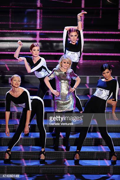 Dancers and Luciana Littizzetto attend fourth night of the 64th Festival di Sanremo 2014 at Teatro Ariston on February 21 2014 in Sanremo Italy