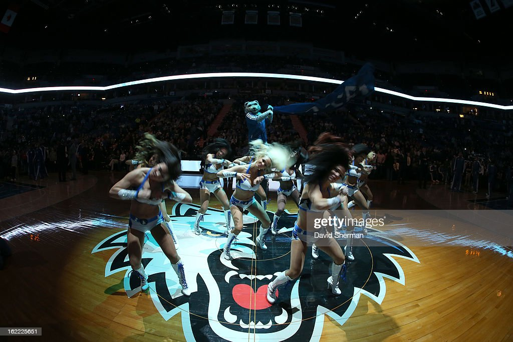 Dancers and mascot perform during the game between Philadelphia 76ers and the Minnesota Timberwolves on February 20, 2013 at Target Center in Minneapolis, Minnesota.