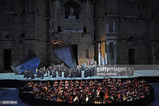 Dancers and singers perform during the rehearsal of the opera 'Otello' by Italian composer Giuseppe Verdi directed by SouthKorean Myung Whun Chung on...