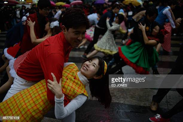 Dancers and students take part in a dance festival in the Gangnam district of Seoul on February 8 2014 Some 700 dancers attended the streetside...