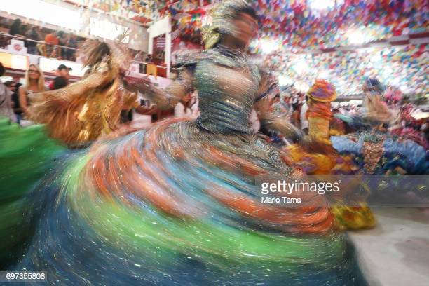 Dancers are blurred performing during a traditional Festas Juninas party at the Salgueiro samba school on June 18 2017 in Rio de Janeiro Brazil Rio...