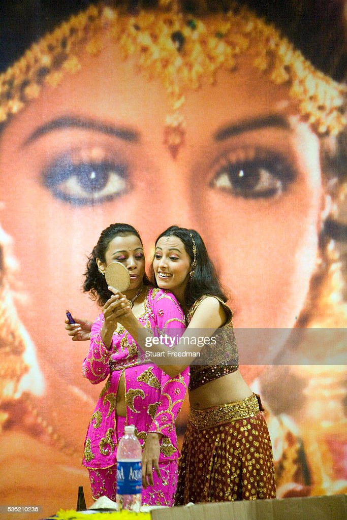 Dancers Ashwini Iyer and Aruna Baman talk at a rehearsal of the production of The Merchants of Bollywood in a studio in Mumbai India The Merchants of...
