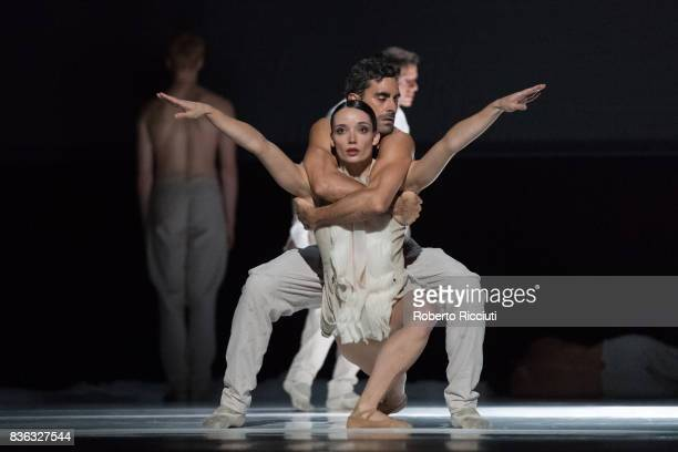 Dancers Chloe Albaret and Jorge Nozal of Netherland Dans Theatre perform on stage 'StopMotion' by choreographers Sol Leon and Paul Lightfoot during a...