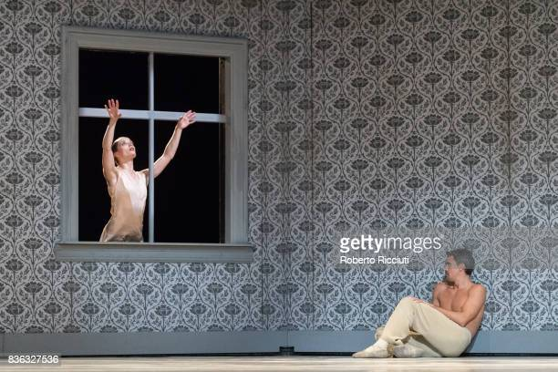 Dancers Chloe Albaret and Roger Van de Poel of Netherland Dans Theatre perform on stage 'Shoot the moon' by choreographers Sol Leon and Paul...