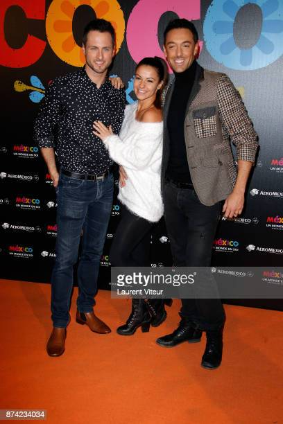 Dancers Christian Millette Denitsa Ikonomova and Maxime Demeyrez attend 'Coco' Special Screening at Le Grand Rex on November 14 2017 in Paris France