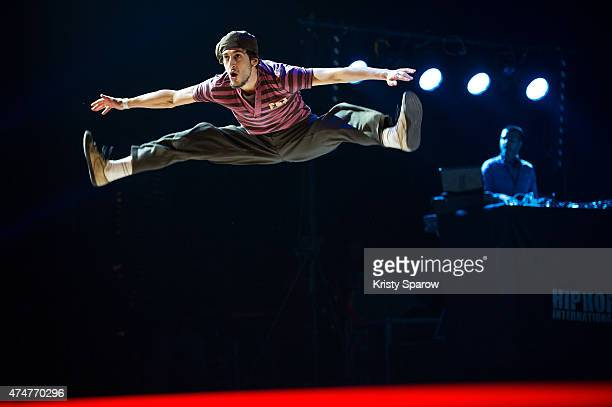 Dancers compete in the 'All Style Battle' onstage during the Hip Hop International France Championship at the Zenith on May 23 2015 in Paris France
