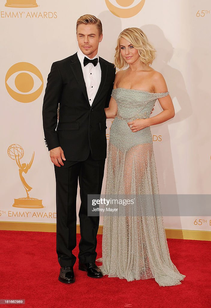 Dancers Derek Hough and Julianne Hough arrive at the 65th Annual Primetime Emmy Awards at Nokia Theatre L.A. Live on September 22, 2013 in Los Angeles, California.