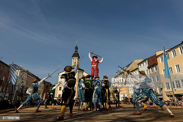 Dancers dressed in traditional clothes perform the 'Schwertertanz' during the annual GeorgiRitt Easter Monday procession in southern Bavaria on March...