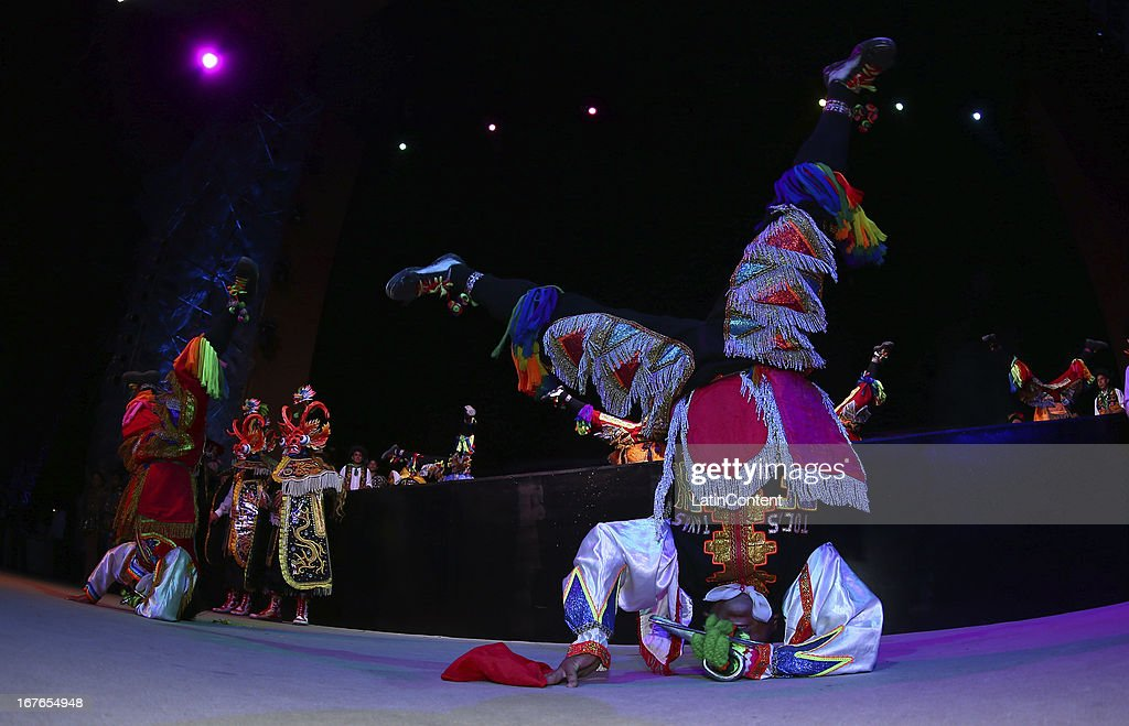 Dancers during a cultural show as part of the third day of the 15th IOC World Conference Sports For All at the Huaca Pucllana Restaurant on April 26, 2013 in Lima, Peru.