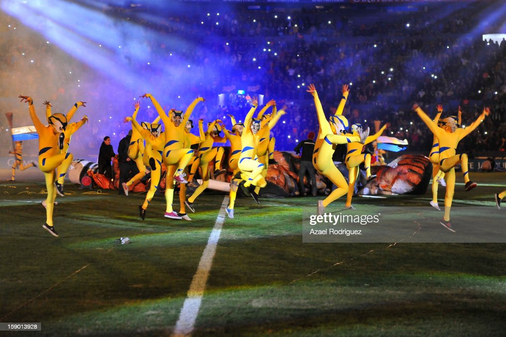 Dancers during the match between Tigres and Jaguares as part of theClausura 2013 championship at Universitario Stadium on January 05, 2013 in Monterrey, Mexico.