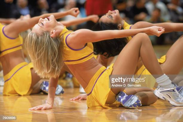Dancers for the Los Angeles Lakers perform during the game against the Phoenix Suns at Staples Center on January 19 2004 in Los Angeles California...